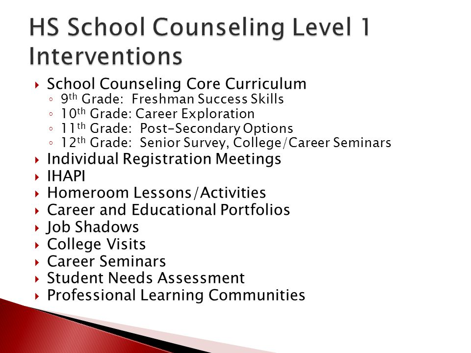 HS School Counseling Level 1 Interventions