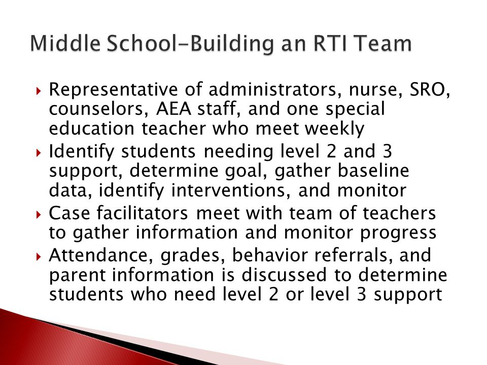 Middle School-Building an RTI Team