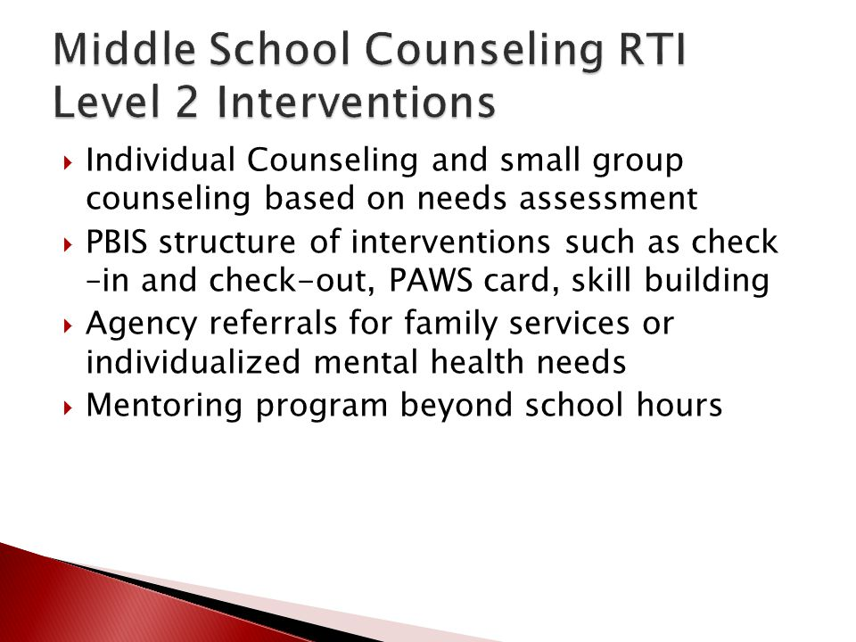 Middle School Counseling RTI Level 2 Interventions