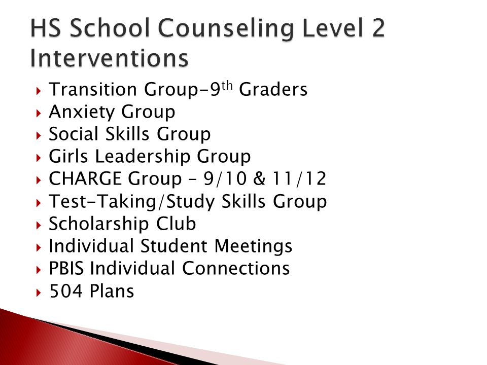 HS School Counseling Level 2 Interventions