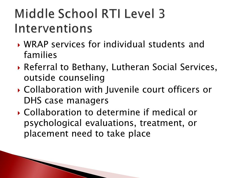 Middle School RTI Level 3 Interventions