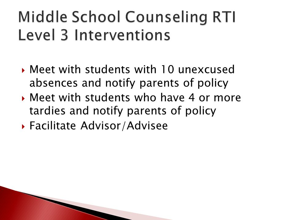 Middle School Counseling RTI Level 3 Interventions