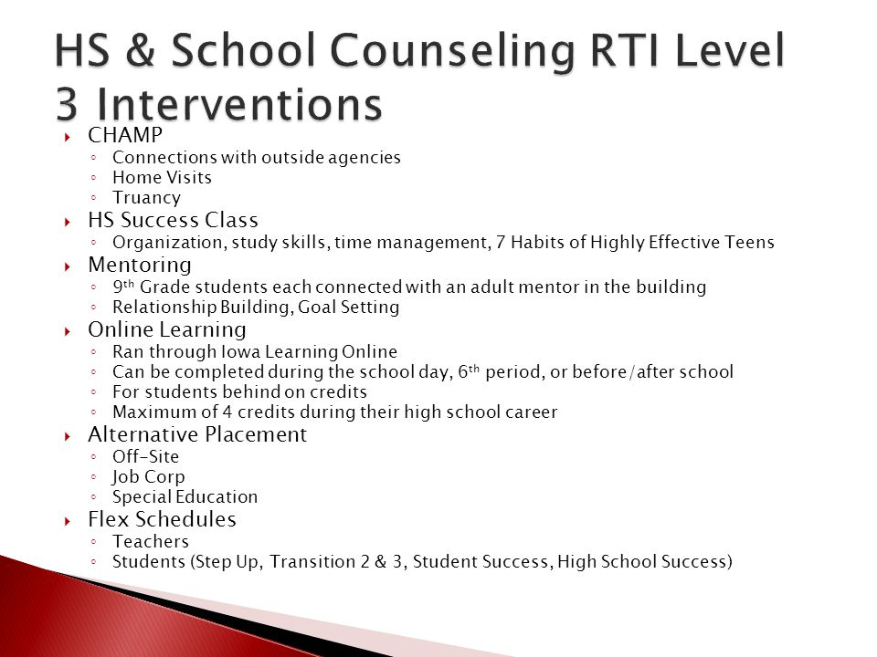 HS & School Counseling RTI Level 3 Interventions