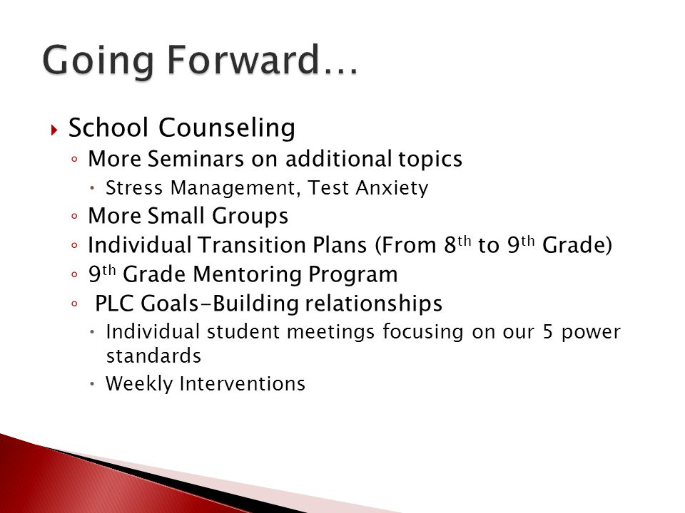 Going Forward… School Counseling More Seminars on additional topics