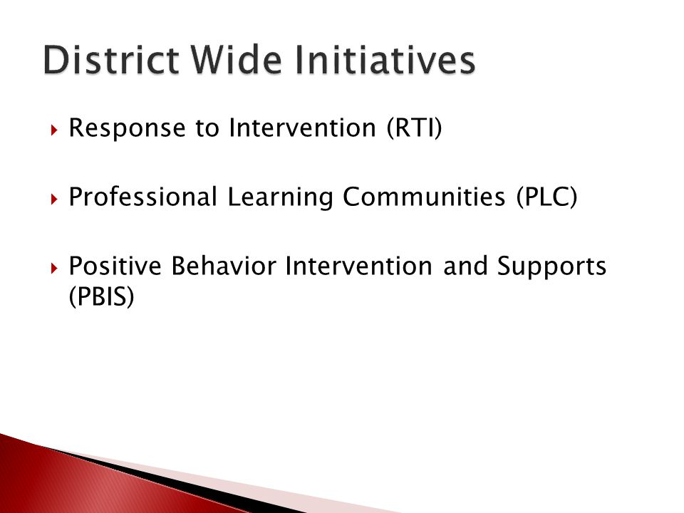 District Wide Initiatives