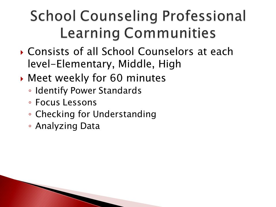 School Counseling Professional Learning Communities