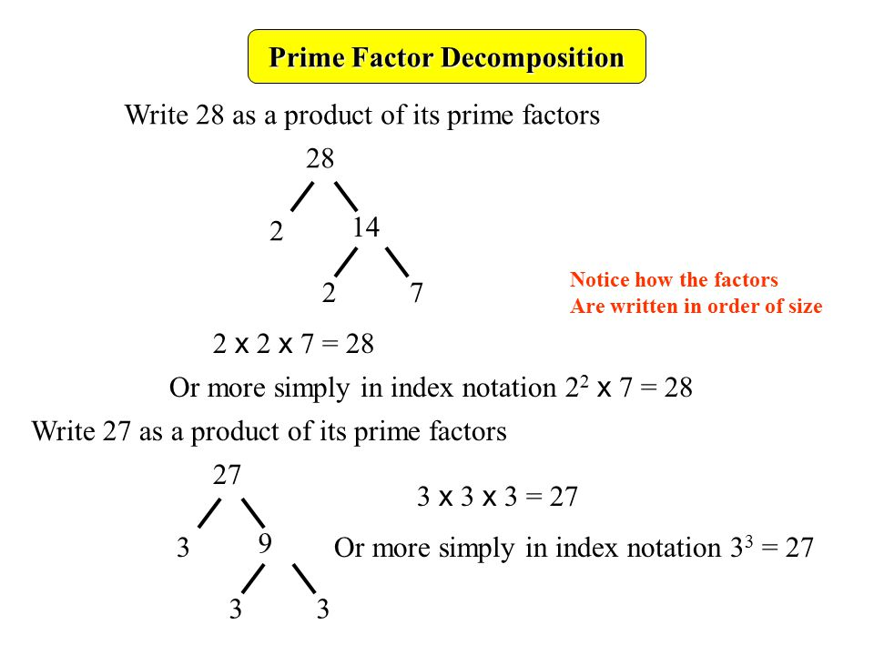 write 63 as a product of prime factors Find the prime factors of a number: a prime number is any number with no divisors other than itself and 1, such as 2 and 11 any number can be written as a product of prime numbers in a unique way (except for the order.