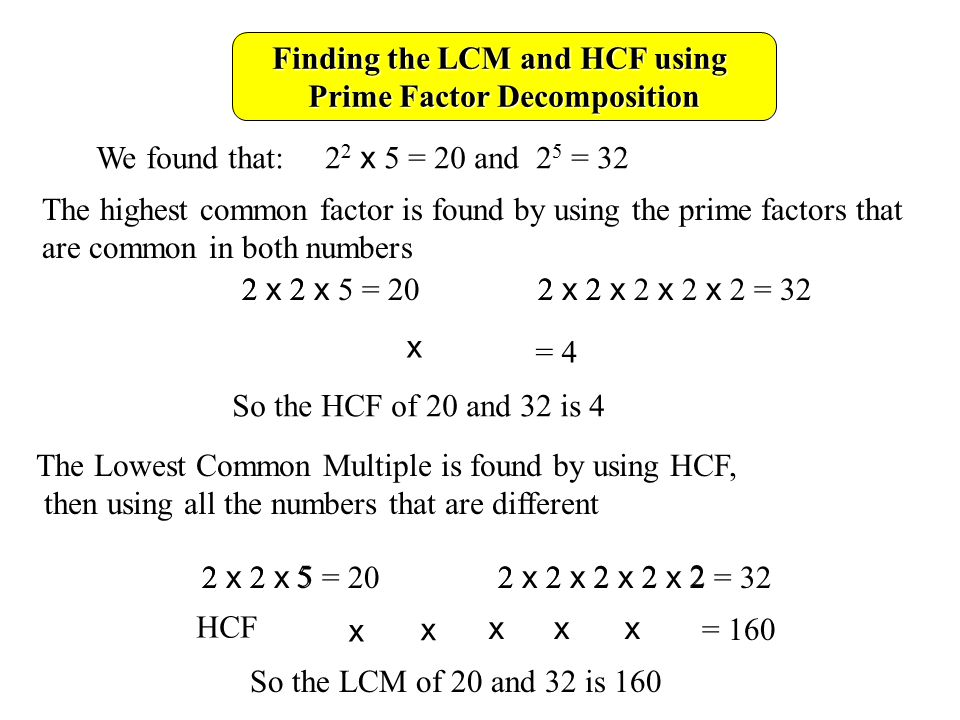Finding the LCM and HCF using Prime Factor Decomposition