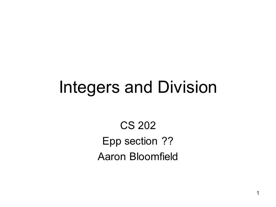 CS 202 Epp section Aaron Bloomfield