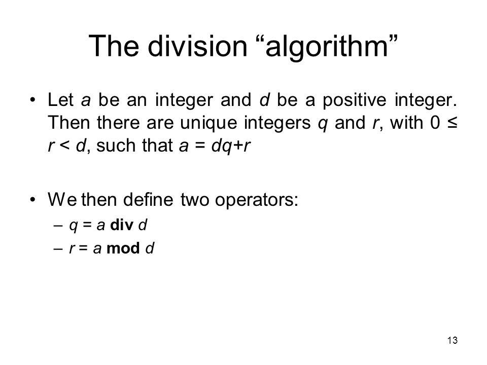 The division algorithm