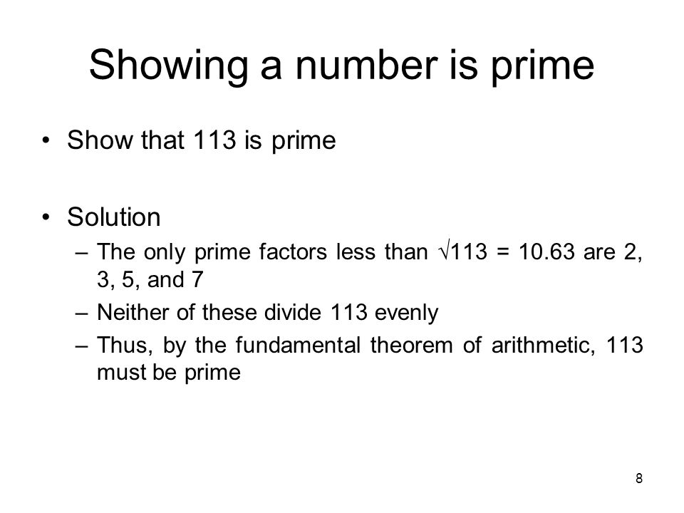 Showing a number is prime
