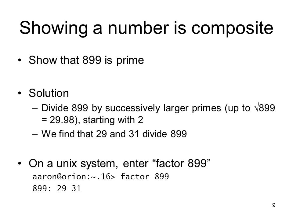 Showing a number is composite