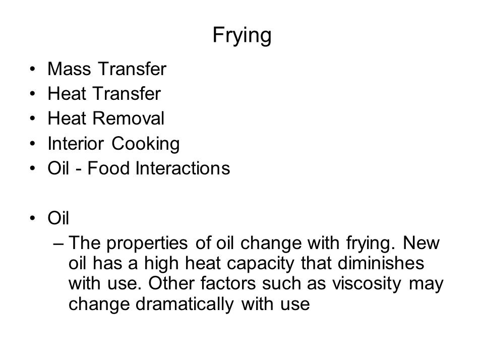 Frying Mass Transfer Heat Transfer Heat Removal Interior Cooking