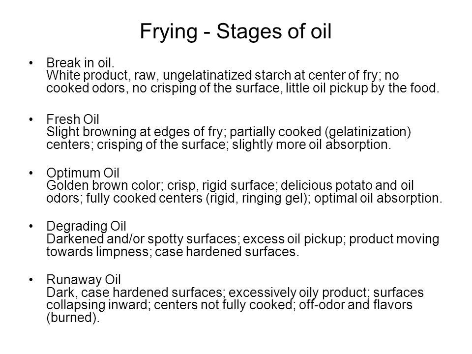 Frying - Stages of oil