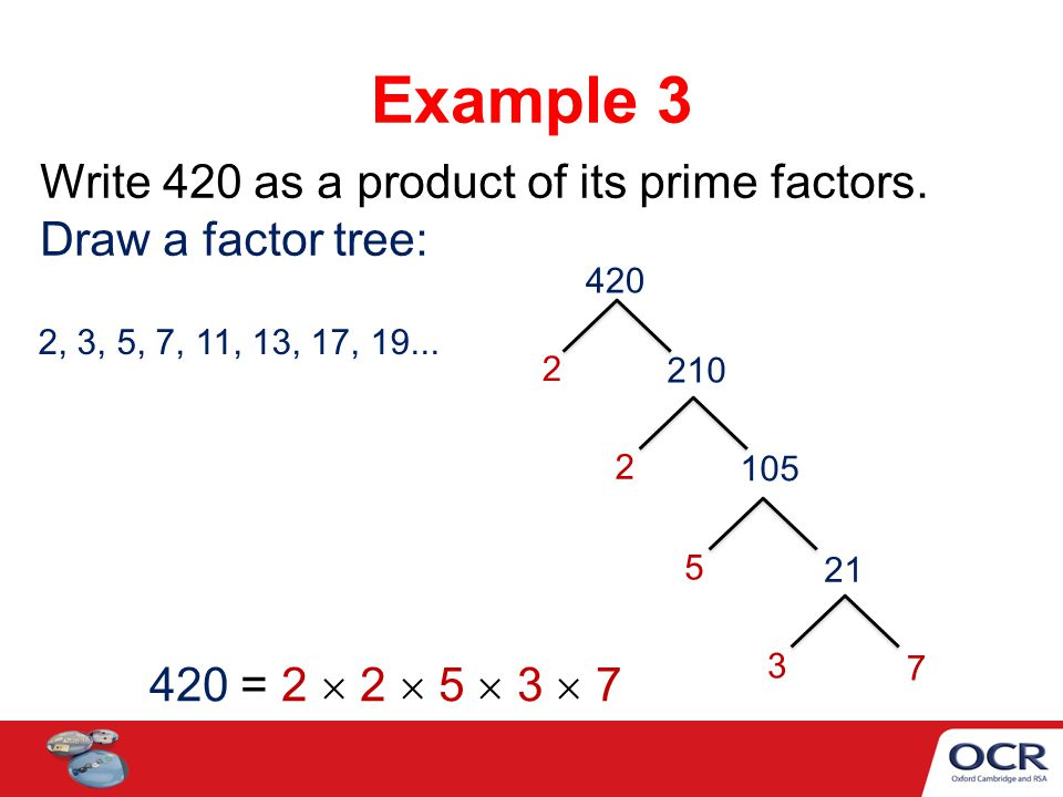 Example 3 Write 420 as a product of its prime factors.