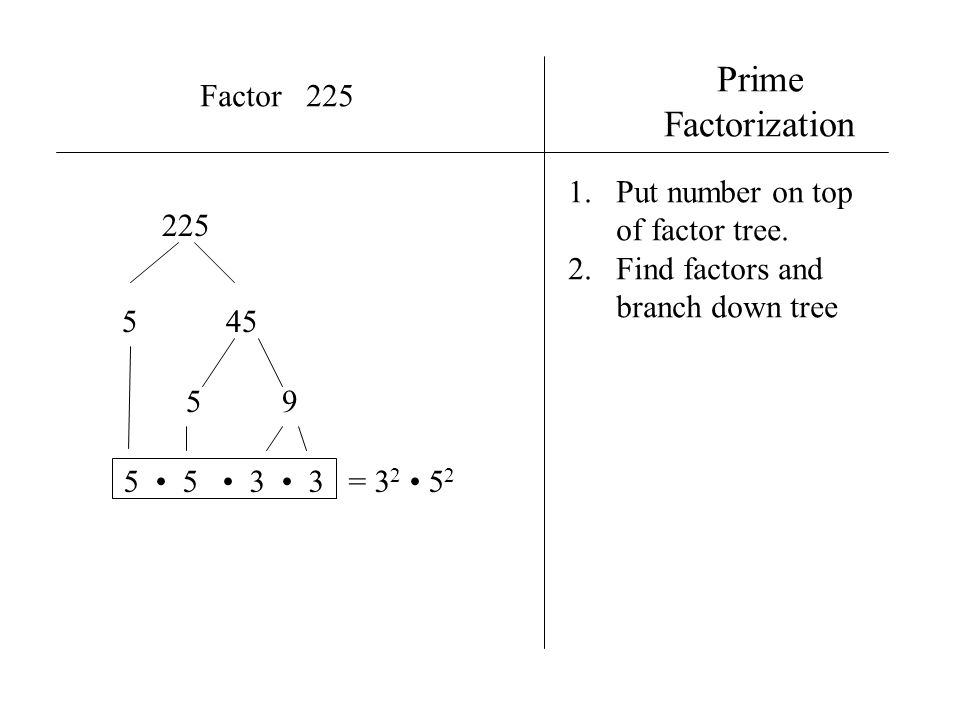 Prime Factorization Factor 225 Put number on top of factor tree. 225