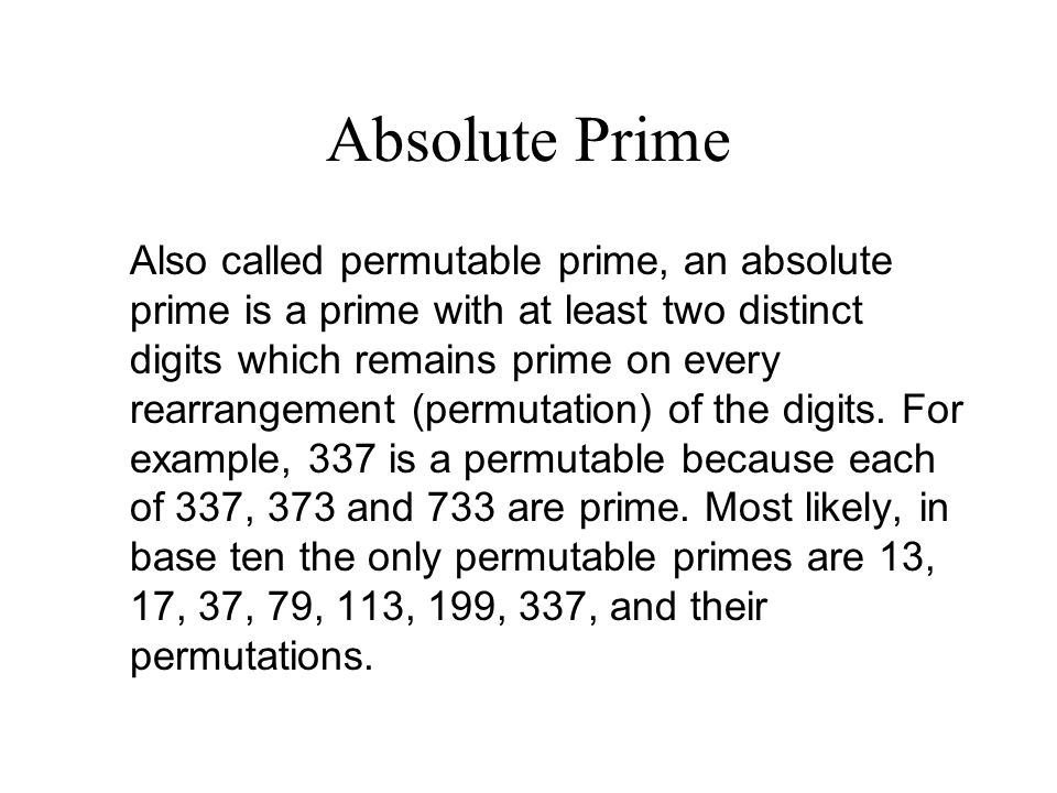 Absolute Prime