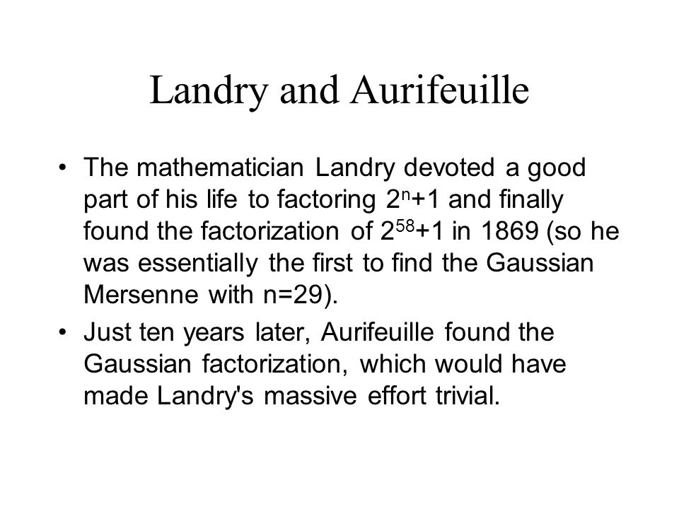 Landry and Aurifeuille