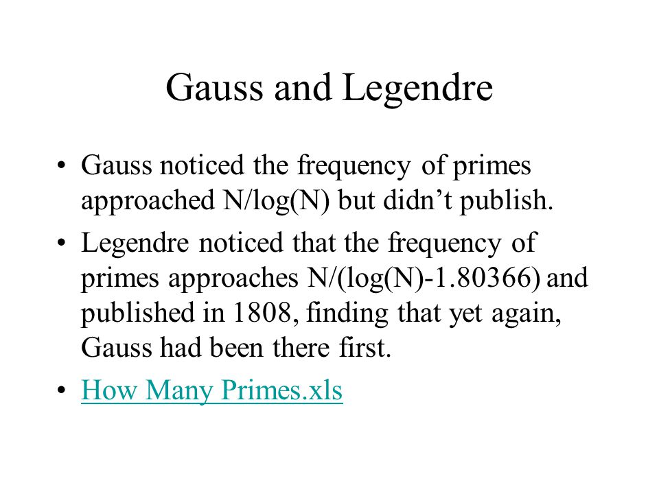 Gauss and Legendre Gauss noticed the frequency of primes approached N/log(N) but didn't publish.