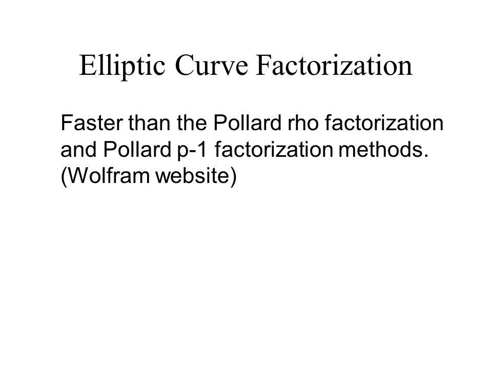 Elliptic Curve Factorization