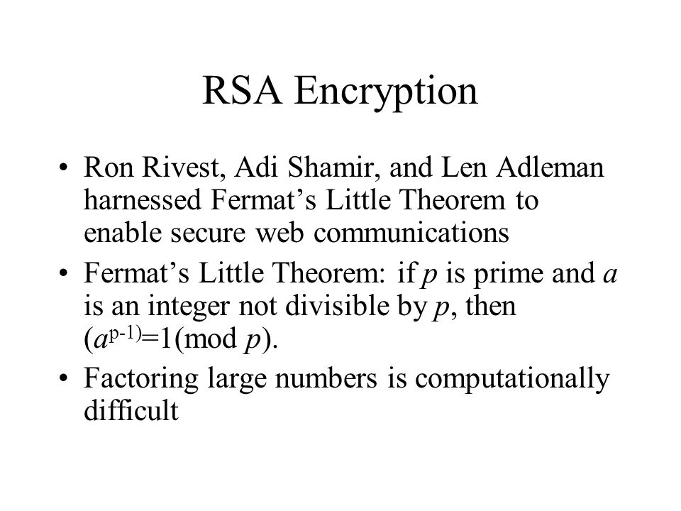 RSA Encryption Ron Rivest, Adi Shamir, and Len Adleman harnessed Fermat's Little Theorem to enable secure web communications.