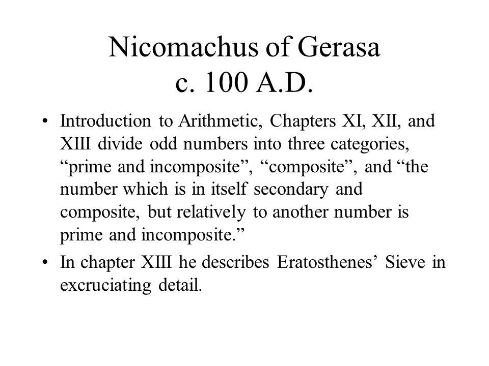 Nicomachus of Gerasa c. 100 A.D.