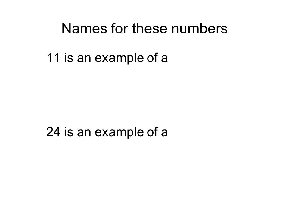 Names for these numbers