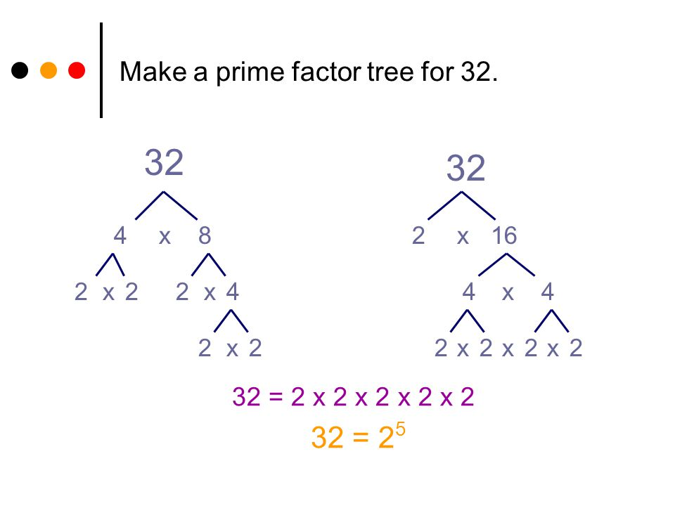 Make a prime factor tree for 32.
