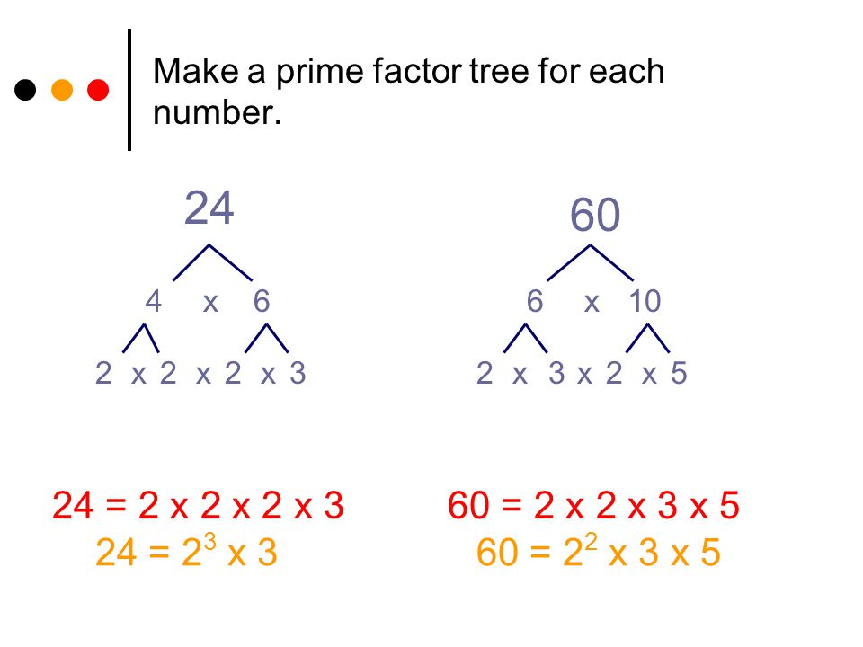 Make a prime factor tree for each number.