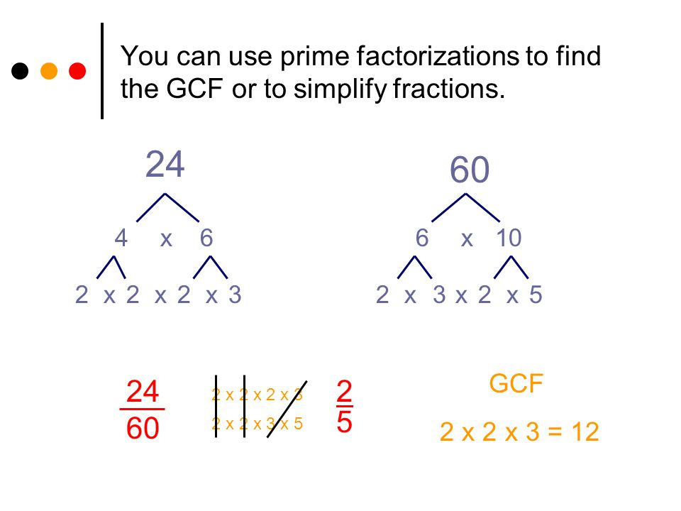 You can use prime factorizations to find the GCF or to simplify fractions.
