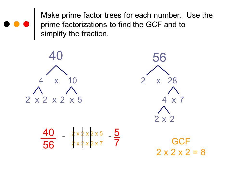 Make prime factor trees for each number