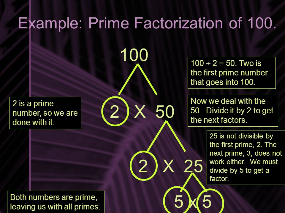 Example: Prime Factorization of 100.