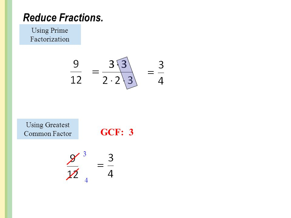 Reduce Fractions. GCF: 3 Using Prime Factorization