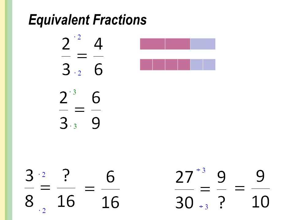 Equivalent Fractions ∙ 2 ∙ 2 ∙ 3 ∙ 3 ÷ 3 ∙ 2 ÷ 3 ∙ 2