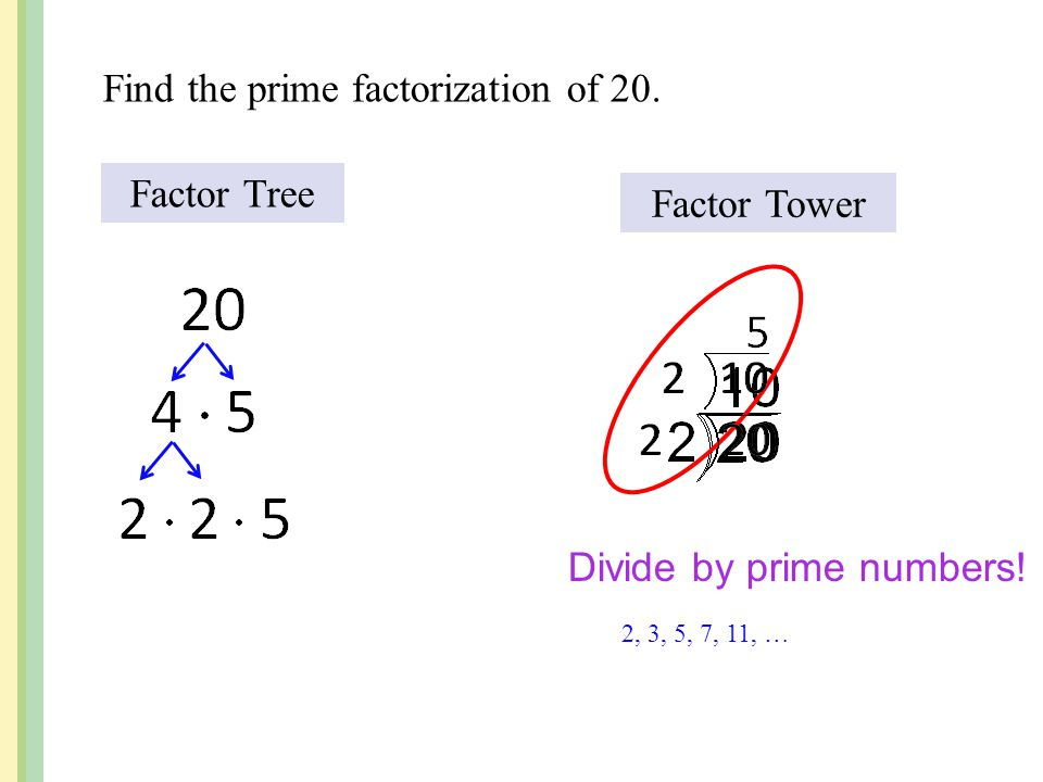 Find the prime factorization of 20.