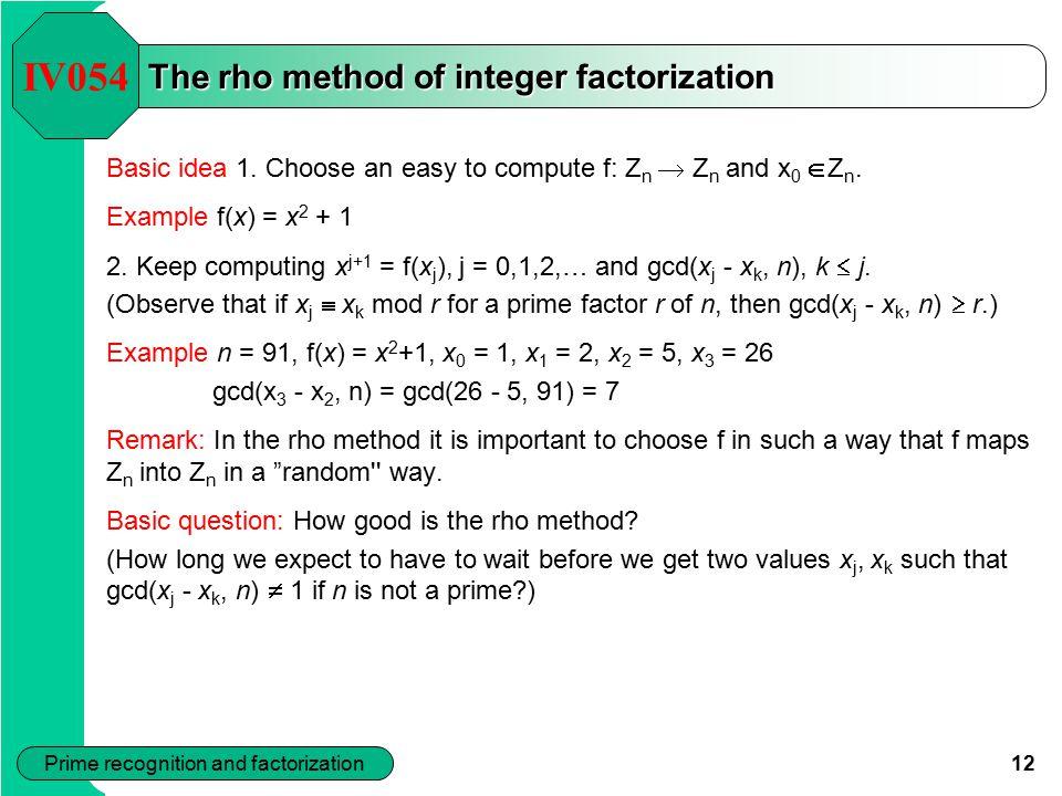 The rho method of integer factorization