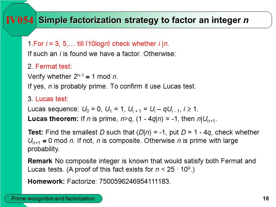 Simple factorization strategy to factor an integer n