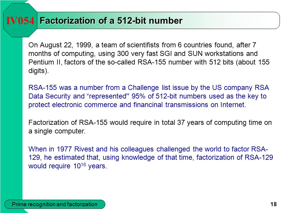 Factorization of a 512-bit number