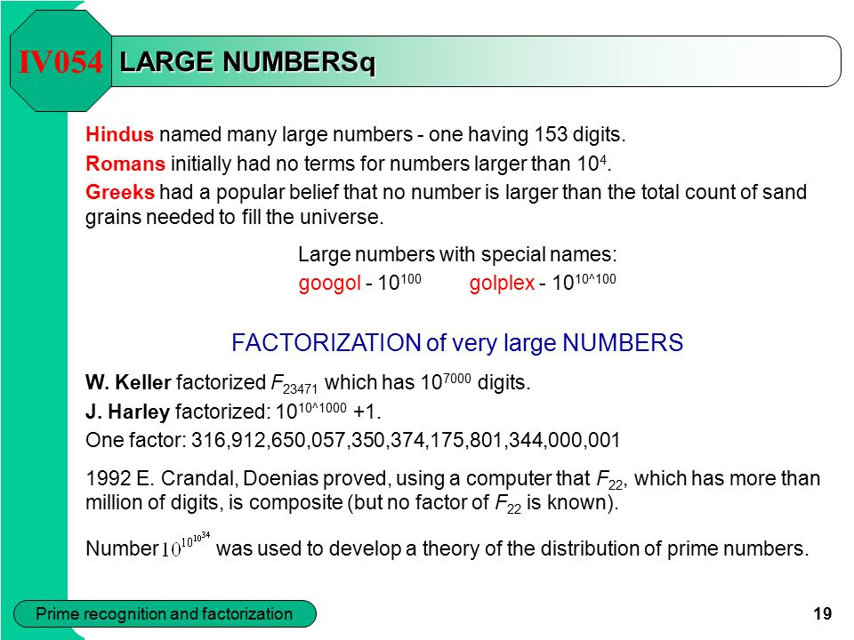 IV054 LARGE NUMBERSq FACTORIZATION of very large NUMBERS