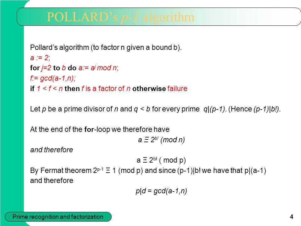 POLLARD's p-1 algorithm