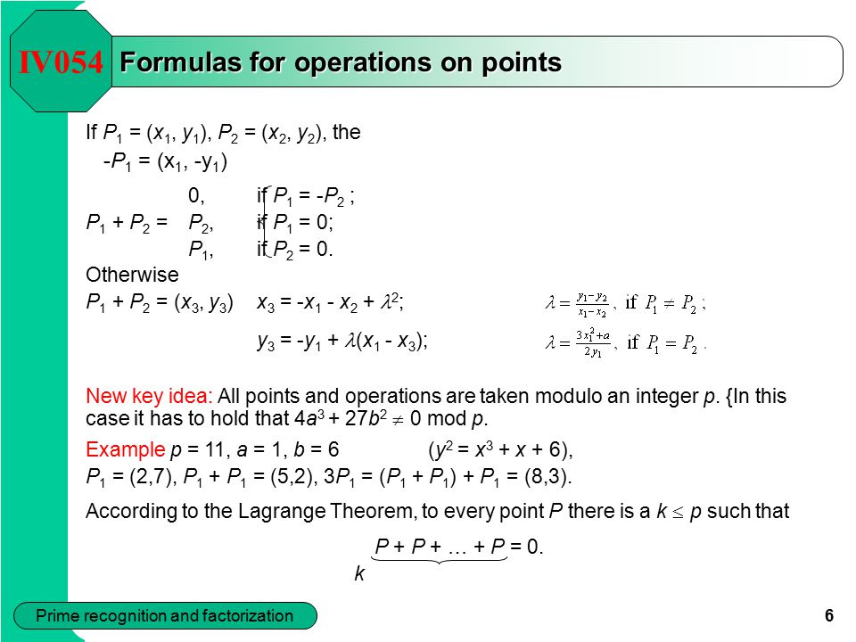 Formulas for operations on points
