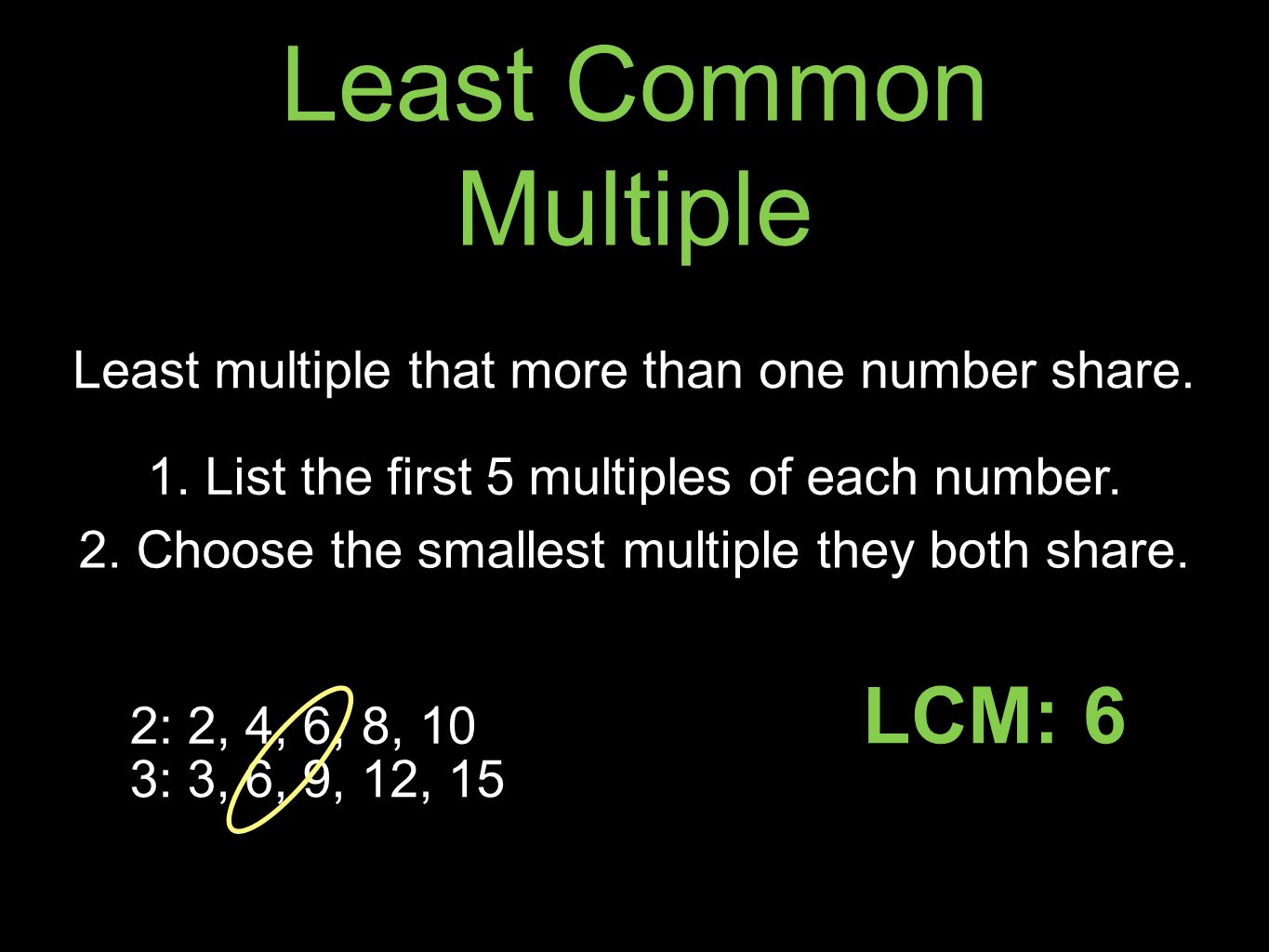 Least Common Multiple LCM: 6