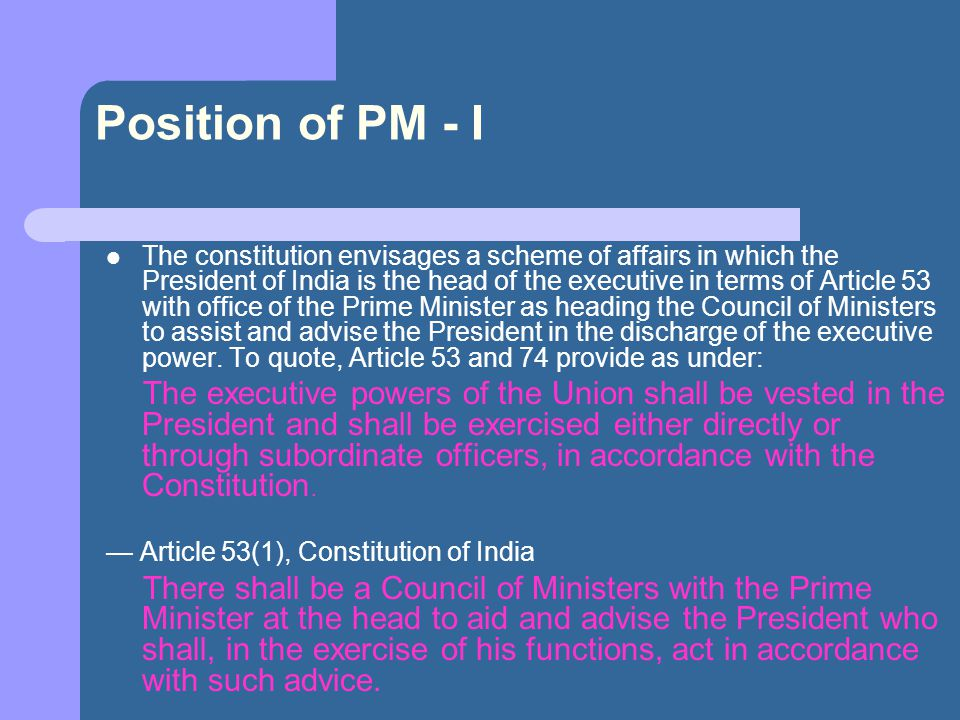 Position of PM - I