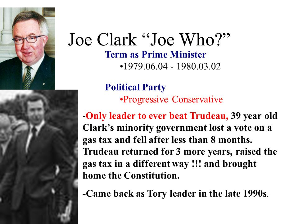 Joe Clark Joe Who Term as Prime Minister 1979.06.04 - 1980.03.02