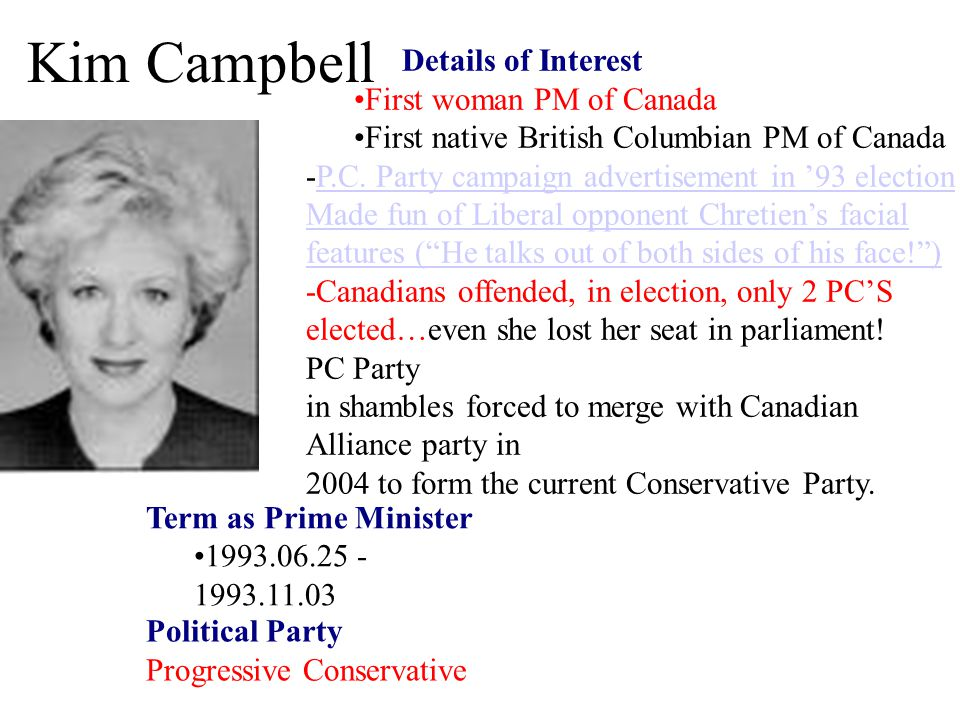 Kim Campbell Details of Interest First woman PM of Canada