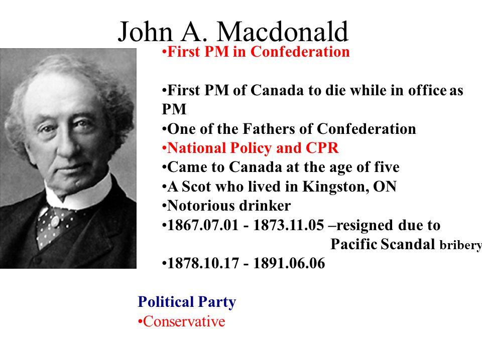 John A. Macdonald First PM in Confederation