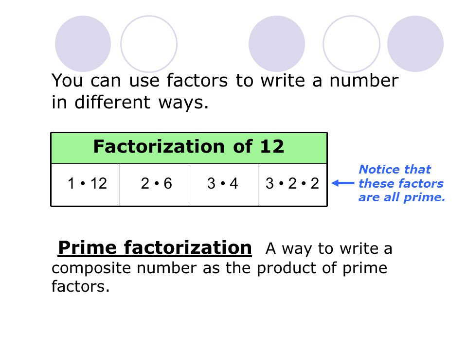 You can use factors to write a number in different ways.