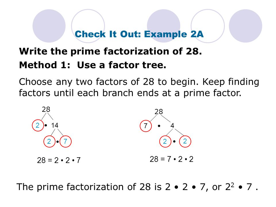 Write the prime factorization of 28.