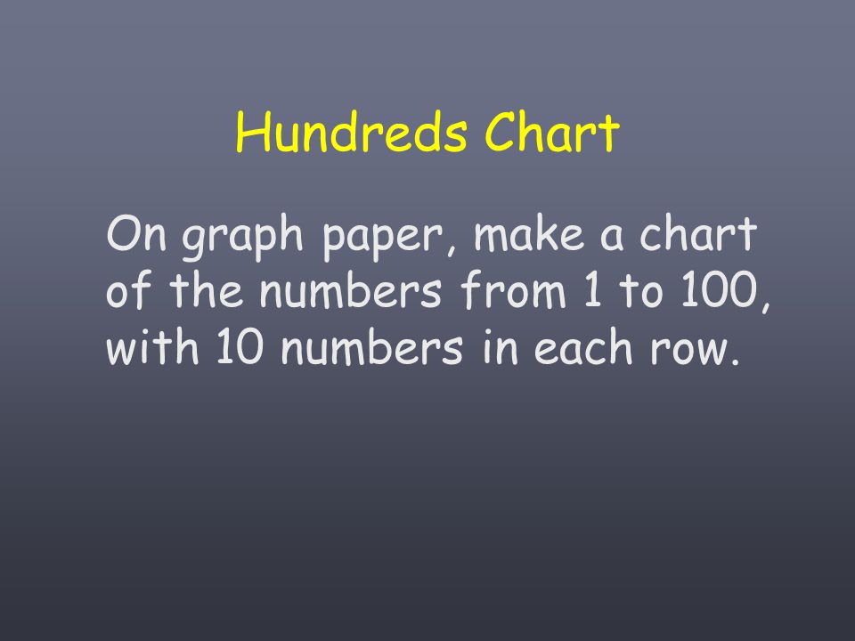 Hundreds Chart On graph paper, make a chart of the numbers from 1 to 100, with 10 numbers in each row.