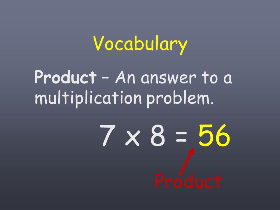 Vocabulary Product Product – An answer to a multiplication problem.